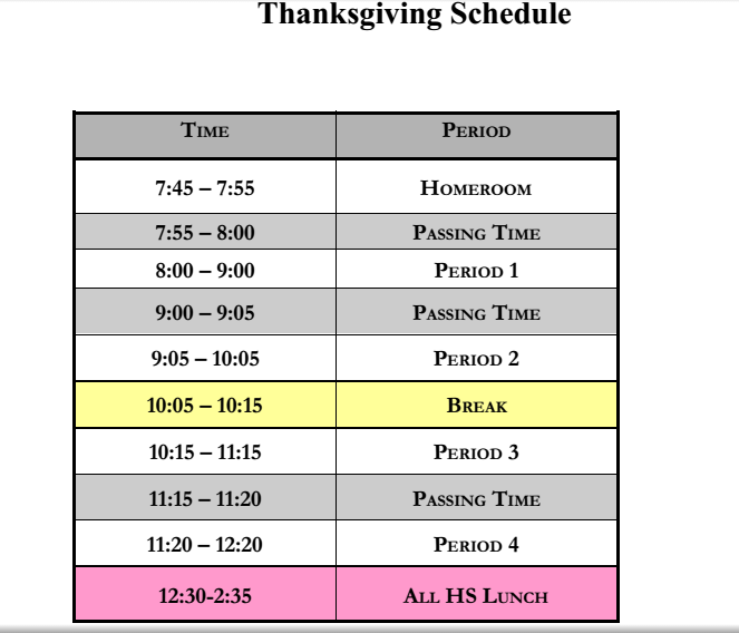 Thanksgiving Day Schedule Of Classes